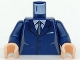 Part No: 973pb0226c01  Name: Torso Suit with 2 Buttons, Gray Sides, Black Centerline and Tie Pattern / Dark Blue Arms / Light Flesh Hands