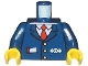 Part No: 973pb0320c01  Name: Torso Train with Logo, Three Gold Buttons, Red Tie, Pencil & Paper in Pocket Pattern / Dark Blue Arms / Yellow Hands