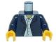 Part No: 973pb0333c01  Name: Torso Town Blazer over Light Blue Button Down Shirt Pattern / Dark Blue Arms / Yellow Hands