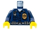 Part No: 973pb0354c01  Name: Torso Police Highway Patrol, Shirt with Badge and Radio Pattern / Dark Blue Arms / Yellow Hands