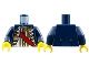 Part No: 973pb0542c01  Name: Torso Pirate Governor with Red Sash Pattern / Dark Blue Arms / Yellow Hands