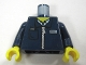 Part No: 973pb0862c01  Name: Torso Zipper Jacket with Light Blue Shirt and Ticket in Pocket Pattern / Dark Blue Arms / Yellow Hands