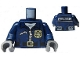 Part No: 973pb1547c01  Name: Torso Police Jacket with White Undershirt, Zippers, Gold Badge and Buckle with 'POLICE' Pattern on Back / Dark Blue Arms / Dark Bluish Gray Hands