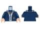 Part No: 973pb2248c01  Name: Torso Batman Suit Jacket, Light Blue Button Down Shirt Open Collar, Red Ascot, Gold Monogram Pattern / Dark Blue Arms / Light Flesh Hands