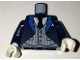 Part No: 973pb2542c01  Name: Torso Coat with Blue Lapels, Light Bluish Gray Pinstripe Vest, White Shirt, Black Tie Pattern / Dark Blue Arms / White Hands
