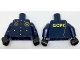 Part No: 973pb2655c01  Name: Torso Police Uniform, Gold Buttons and Badge, Radio Over Shoulder and 'GCPD' on Back Pattern / Dark Blue Arms with Gold Badge Right / Black Hands