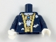Part No: 973pb2900c01  Name: Torso Batman Robe with Gold Hems and White Bats over White Shirt with Gold Bat Amulet and Sash Pattern / Dark Blue Arms / White Hands
