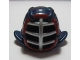 Part No: 98130pb02  Name: Minifigure, Headgear Helmet Ninjago Kendo with Silver Grille Mask and Dark Red Trim Pattern