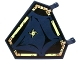 Part No: x1435pb017  Name: Flag 5 x 6 Hexagonal with Dark Blue Cloth Hung on Yellowish Green Frame and Spider Pattern (Sticker) - Set 70732