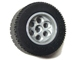Part No: 6595c02  Name: Wheel 49.6 x 28 VR with Axle Hole, with Black Tire 49.6 x 28 VR (6595 / 6594)