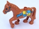 Part No: 1376pb04  Name: Duplo Horse with one Stud and Raised Hoof with Blue Bridle and Crowned Eagle Pattern