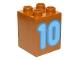 Part No: 31110pb082  Name: Duplo, Brick 2 x 2 x 2 with Number 10 Medium Blue Pattern