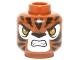 Part No: 3626cpb1299  Name: Minifig, Head Alien Chima Tiger with Orange Eyes, White Face, Fangs and Black Stripes Pattern (Trakkar) - Stud Recessed
