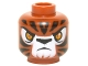 Part No: 3626cpb1300  Name: Minifig, Head Alien Chima Tiger with Orange Eyes, White Face and Black Stripes Pattern (Tazar) - Stud Recessed