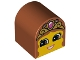 Part No: 3664pb23  Name: Duplo, Brick 2 x 2 x 2 Curved Top with Girl Face, Open Smile, Crown with Jewel Pattern