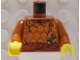 Part No: 973px187c01  Name: Torso Adventurers Orient Yellow Spots, Sash, Knife, Collar Pattern / Dark Orange Arms / Yellow Hands