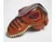 Part No: 98161c01pb01  Name: Dino Head T-Rex with Pin, Tan Teeth, Dark Red Top and Dark Brown Stripes Pattern
