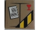 Part No: 3068bpb1092  Name: Tile 2 x 2 with Parcel Trans-Clear with Red Fragile Goblet, Barcode and Black and Yellow Danger Stripes Pattern (Sticker) - Set 60022