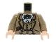 Part No: 973pb0132c01  Name: Torso Indiana Jones Waistcoat, Jacket, Green Bow Tie & Diary Pattern / Dark Tan Arms / Light Flesh Hands