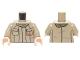 Part No: 973pb2217c01  Name: Torso SW Jacket with Rebel Logo, 2 Pockets and Olive Green Scarf Pattern / Dark Tan Arms / Light Flesh Hands