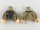 Part No: 973pb3251c01  Name: Torso Trenchcoat over Dark Gray Jacket with Silver and Copper Clasps Pattern / Dark Tan Arms / Light Flesh Hands