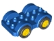 Part No: 11841c02  Name: Duplo Car Base 2 x 6 with Four Black Tires and Yellow Wheels on Fixed Axles