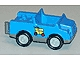 Part No: 2218c04pb02  Name: Duplo Car with 2 x 2 Studs and Dark Gray Base and Yellow Package on Wheels Pattern