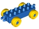 Part No: 2312c01  Name: Duplo Car Base 2 x 6 with Yellow Wheels and Open Hitch End