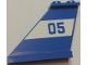 Part No: 2340pb062L  Name: Tail 4 x 1 x 3 with Blue '05' on White Background Pattern Model Left Side (Sticker) - Set 60045