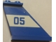 Part No: 2340pb062R  Name: Tail 4 x 1 x 3 with Blue '05' on White Background Pattern Model Right Side (Sticker) - Set 60045
