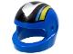 Part No: 2446pb17  Name: Minifigure, Headgear Helmet Standard with Silver/Black/Medium Blue/Yellow Pattern (Set 8364)