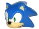 Part No: 27456pb01  Name: Minifigure, Head Modified Sonic the Hedgehog with Green Eyes, Tan Face and Ears, Black Nose and Half Smile Pattern