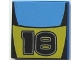 Part No: 3068bpb0022  Name: Tile 2 x 2 with Number 18 and Medium Blue / Yellow Stripes Pattern