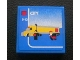 Part No: 3068bpb0321  Name: Tile 2 x 2 with Groove with Yellow Lego Truck and 'CITY' and '5-12' Set Box Pattern (Sticker) - Set 3221