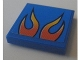 Part No: 3068bpb0671  Name: Tile 2 x 2 with Orange Flames on Blue Background Pattern (Sticker) - Set 8154