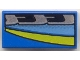 Part No: 3069bpx57  Name: Tile 1 x 2 with Blue, Black, Silver, and Yellow Stripes Left Pattern