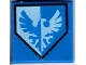Part No: 3070bpb100  Name: Tile 1 x 1 with Blue and White Falcon on Pentagonal Shield Pattern