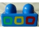 Part No: 31001px3  Name: Primo Brick 1 x 2 with Green, Yellow, and Red Squares Pattern
