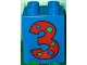 Part No: 31110pb011  Name: Duplo, Brick 2 x 2 x 2 with Number 3 with Polka Dots Pattern