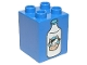 Part No: 31110pb096  Name: Duplo, Brick 2 x 2 x 2 with Milk Bottle with Cow Head Pattern