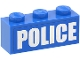 Part No: 3622pb040  Name: Brick 1 x 3 with White 'POLICE' Bold Narrow Large Font on Blue Background Pattern (Sticker) - Set 4440