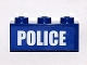 Part No: 3622pb067  Name: Brick 1 x 3 with White 'POLICE' Bold Narrow Small Font on Blue Background Pattern (Sticker) - Set 4438
