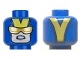 Part No: 3626cpb2135  Name: Minifigure, Head Glasses with Gold Sunglasses, Open Mouth Scowl with Teeth, V on Back Pattern - Hollow Stud