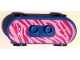 Part No: 42511c01pb18  Name: Minifig, Utensil Skateboard with Trolley Wheel Holders with Magenta / Bright Pink Tiger Stripes Pattern (Sticker) and Black Trolley Wheels (42511pb18 / 2496)
