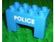 Part No: 6394pb02  Name: Duplo, Brick 2 x 4 x 2 with 2 x 2 Cutout on Bottom with Police Text Pattern