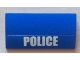 Part No: 88930pb017  Name: Slope, Curved 2 x 4 x 2/3 No Studs with Bottom Tubes with White 'POLICE' Bold Narrow Font on Blue Background Pattern (Sticker) - Set 4436