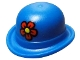 Part No: 95674pb01  Name: Minifig, Headgear Hat, Bowler with Red Flower with Yellow Center Pattern
