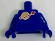 Part No: 973p90new2c01  Name: Torso Space Classic Moon Logo High on Torso Pattern, Inside with Ribs (second reissue) / Blue Arms / Blue Hands