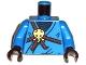 Part No: 973pb0830c01  Name: Torso Ninjago Brown Rope, Gold Medallion and Dark Blue Undershirt Pattern / Blue Arms / Black Hands