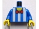 Part No: 973pb0947c01  Name: Torso White Vertical Stripes and Red Bow Tie Pattern / Blue Arms / Yellow Hands
